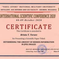 "CERTIFICATE to Hristo Terziev | International Scientific Conference ""Defense Technology"""